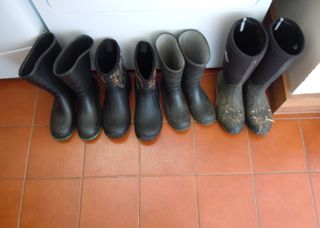 Barn boots by the back door